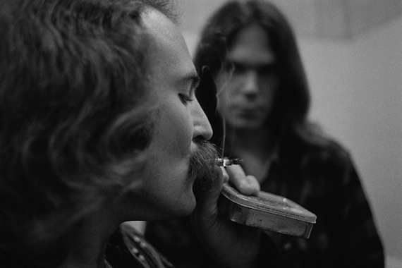 David Crosby and Neil Young Smoking